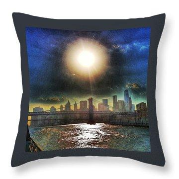 Nyc Skyline At Sunset Throw Pillow