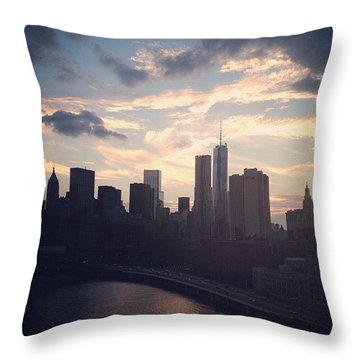 New York At Dusk  Throw Pillow by Emma O Brien