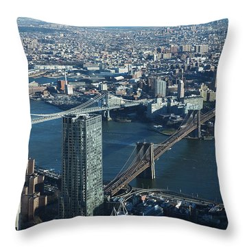 Nyc Bridges Throw Pillow by Matthew Bamberg