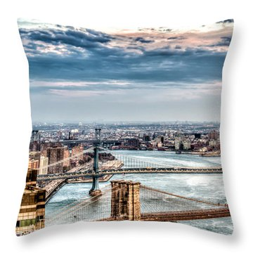 Throw Pillow featuring the photograph Nyc Bridges by Rafael Quirindongo