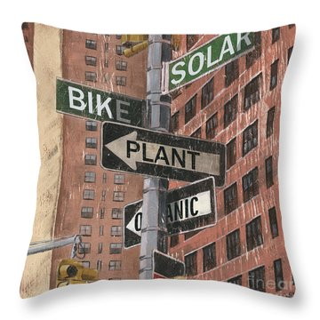 New York Signs Throw Pillows