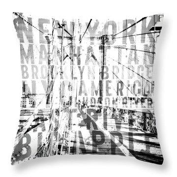 Nyc Brooklyn Bridge Typography No2 Throw Pillow