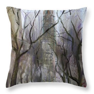 Nyc Central Park 1995 Throw Pillow by Ylli Haruni