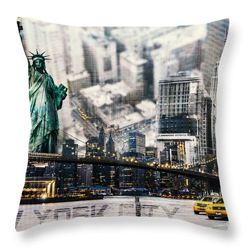 Throw Pillow featuring the photograph Nyc - Collage by Hannes Cmarits