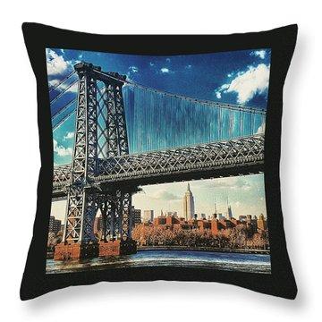 Verrazano Bridge Color Throw Pillow