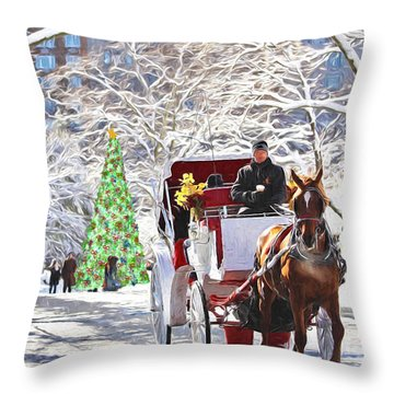 Festive Winter Carriage Rides Throw Pillow