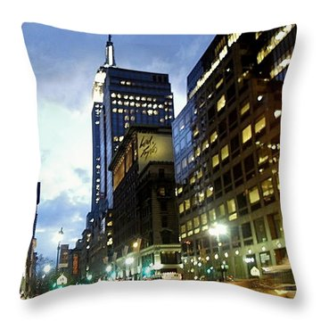 Nyc Fifth Ave Throw Pillow by Vannetta Ferguson