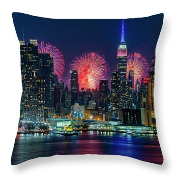 Throw Pillow featuring the photograph Nyc Fireworks Celebration by Susan Candelario