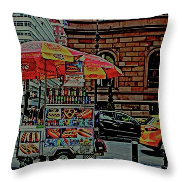 New York City Food Cart Throw Pillow by Sandy Moulder