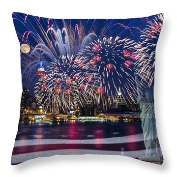 Nyc Fourth Of July Celebration Throw Pillow