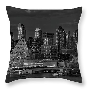 Throw Pillow featuring the photograph Nyc Golden Empire Bw by Susan Candelario