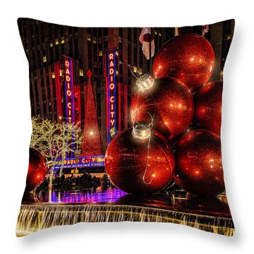 Throw Pillow featuring the photograph Nyc Holiday Balls by Chris Lord
