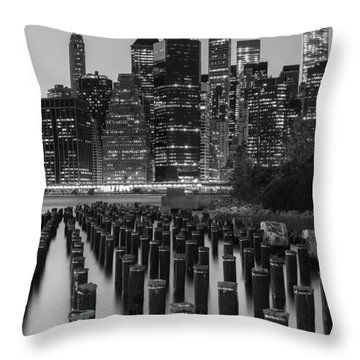 Throw Pillow featuring the photograph Nyc Skyline Bw by Laura Fasulo