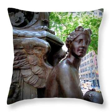 Nyc Library Angel Throw Pillow