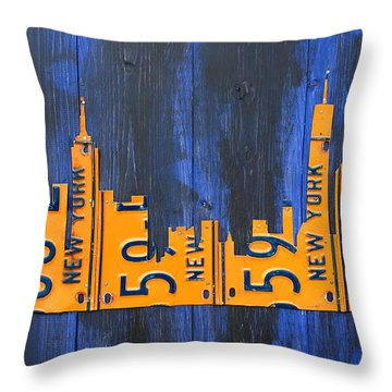 Nyc New York City Skyline With Lady Liberty And Freedom Tower Recycled License Plate Art Throw Pillow by Design Turnpike