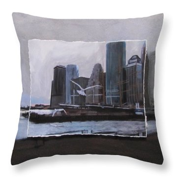 Nyc Pier 11 Layered Throw Pillow by Anita Burgermeister