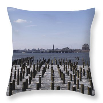 New York City Piers  Throw Pillow by Henri Irizarri