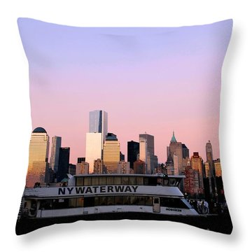 Nyc Skyline With Boat At Pier Throw Pillow