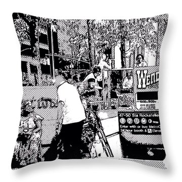 Nyc Street Scene Throw Pillow