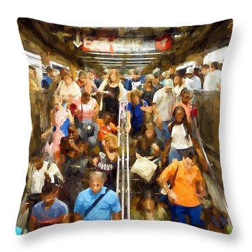 Nyc Subway Throw Pillow by Matthew Ashton