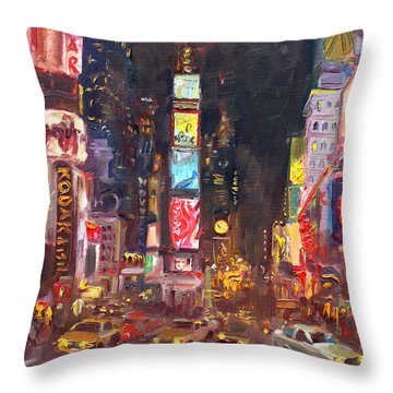 Nyc Times Square Throw Pillow by Ylli Haruni