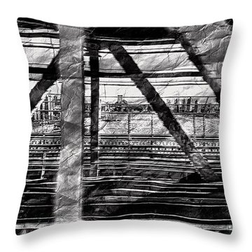 Throw Pillow featuring the photograph Nyc Train Bridge Tracts by Joan Reese