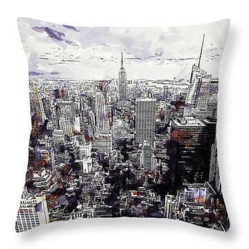 Nyc View From Rockefeller Center Throw Pillow