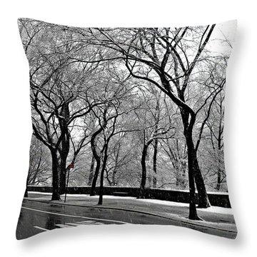 Nyc Winter Wonderland Throw Pillow by Vannetta Ferguson