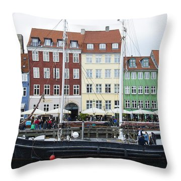 Nyhavn 17 Throw Pillow by Eric Nielsen