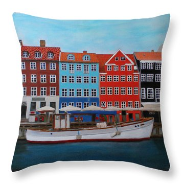 Throw Pillow featuring the painting Nyhavn Copenhagen by Deborah Boyd