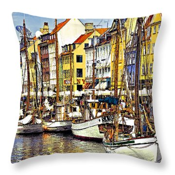 Nyhavn Throw Pillow by Dennis Cox WorldViews