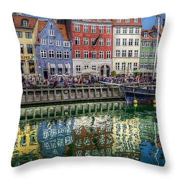 Nyhavn Harbor Area, Copenhagen Throw Pillow