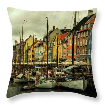 Nyhavn In Copenhagen Throw Pillow