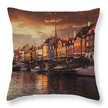 Nyhavn Sunset Copenhagen Throw Pillow
