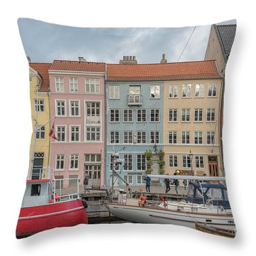 Throw Pillow featuring the photograph Nyhavn Waterfront In Copenhagen by Antony McAulay