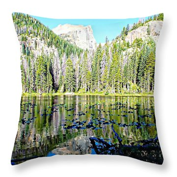 Nymph Lake And Flattop Mountain Throw Pillow