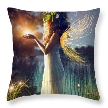 Nymph Of August Throw Pillow by Lilia D