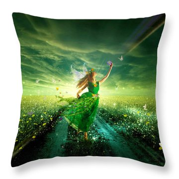 Nymph Of July Throw Pillow