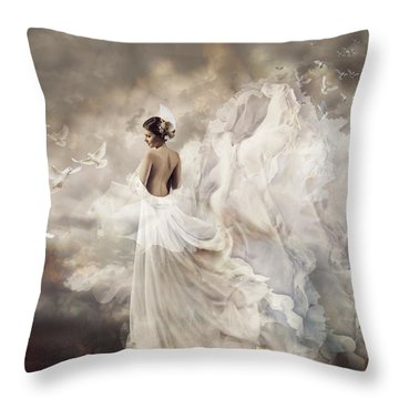 Nymph Of The Sky Throw Pillow by Lilia D