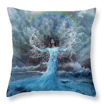 Nymph Of  The Water Throw Pillow by Lilia D