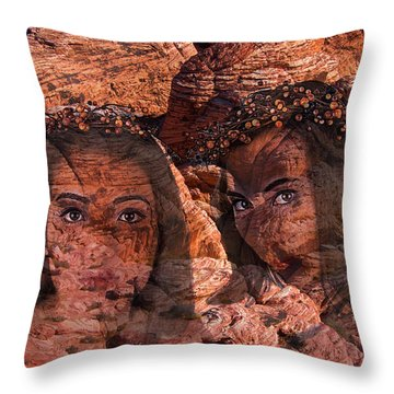Nymphs Of The Red Rocks Throw Pillow