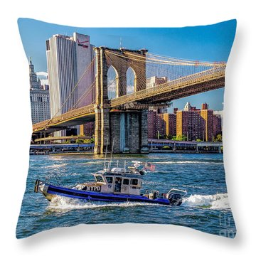 Nypd On East River Throw Pillow by Nick Zelinsky