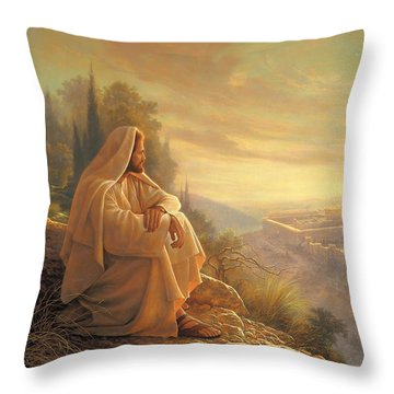 Throw Pillow featuring the painting O Jerusalem by Greg Olsen