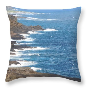 Oahu Coastline Throw Pillow