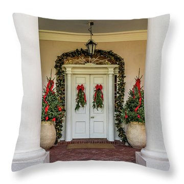 Throw Pillow featuring the photograph Oak Alley Plantation Doors by Paul Freidlund