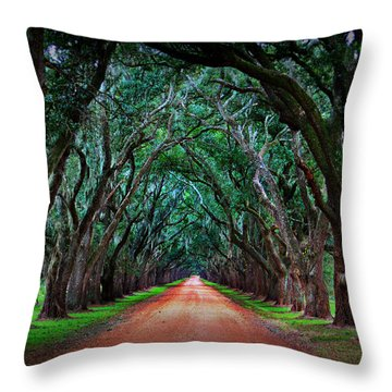Oak Alley Road Throw Pillow