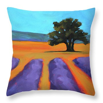 Oak And Lavender Throw Pillow by Nancy Merkle