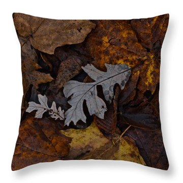 Oak And Maple Leaves Throw Pillow by Tim Good