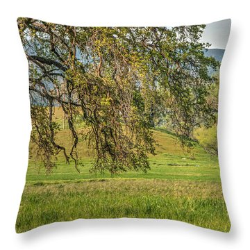 Oak And Windmill In Meadow Throw Pillow