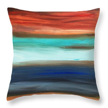 Oak Creek #28 Southwest Landscape Original Fine Art Acrylic On Canvas Throw Pillow